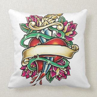 Tattoo murmur of a heart with the knife stuck pillow