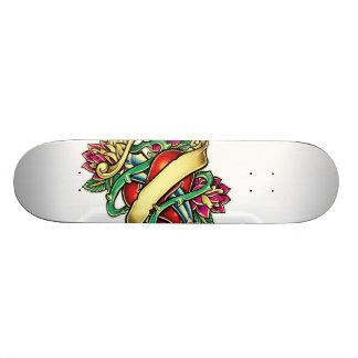 Tattoo murmur of a heart with the knife stuck skateboard deck