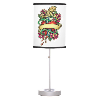 Tattoo murmur of a heart with the knife stuck table lamp