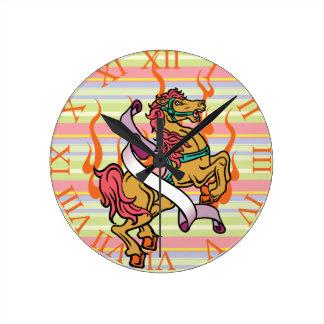 tattoo of Crazy Horse on orange flames Round Clock