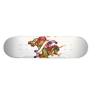 tattoo of Crazy Horse on orange flames Skateboard Deck
