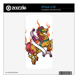 tattoo of Crazy Horse on orange flames Skins For The iPhone 4