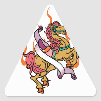 tattoo of Crazy Horse on orange flames Triangle Sticker