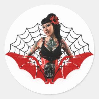 Tattoo Pin Up Classic Round Sticker