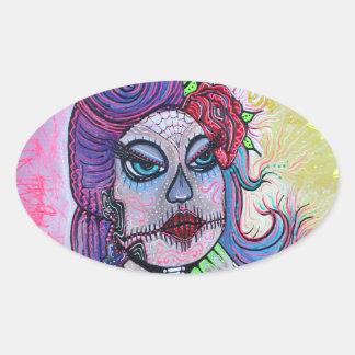 Tattoo Pin Up Girl Oval Sticker