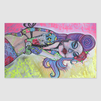 Tattoo Pin Up Girl Rectangular Sticker