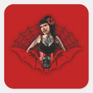 Tattoo Pin Up Square Sticker