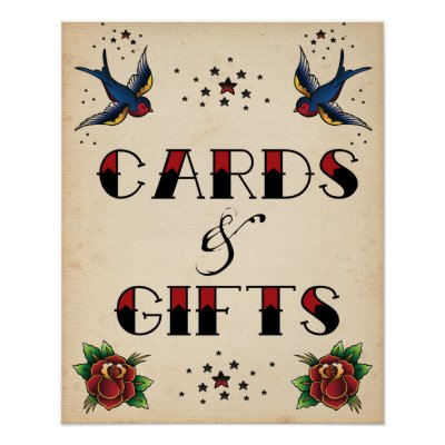 Tattoo Rockabilly Vintage Cards and Gifts Sign