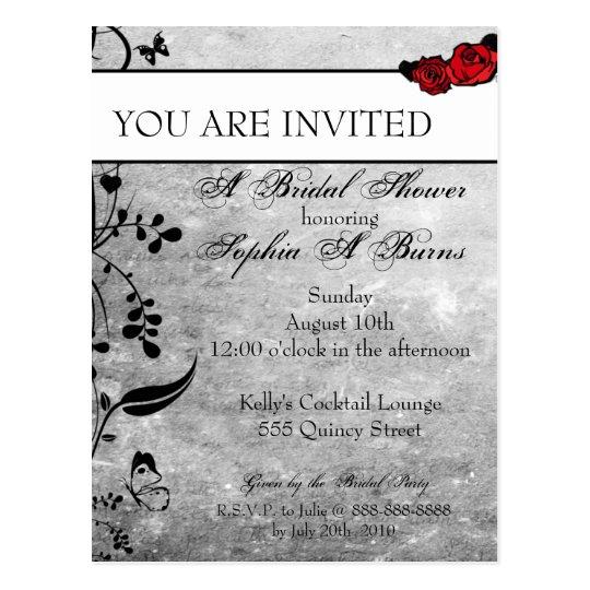 Tattoo Rose and Fluers Bridal Shower Invitation Postcard