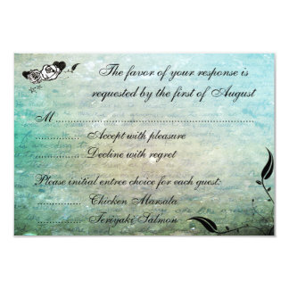 Tattoo Rose and Fluers Muerte Skull Reception Card