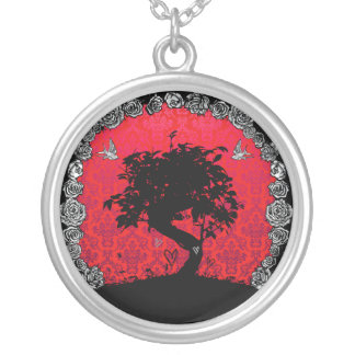Tattoo Rose Bonsai Tree of Love Round Pendant Necklace