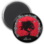 Tattoo Rose Bonsai Tree of Love Swallow 2 Inch Round Magnet