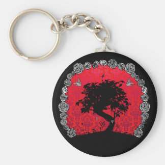 Tattoo Rose Bonsai Tree of Love Swallow Basic Round Button Keychain