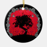 Tattoo Rose Bonsai Tree of Love Swallow Double-Sided Ceramic Round Christmas Ornament