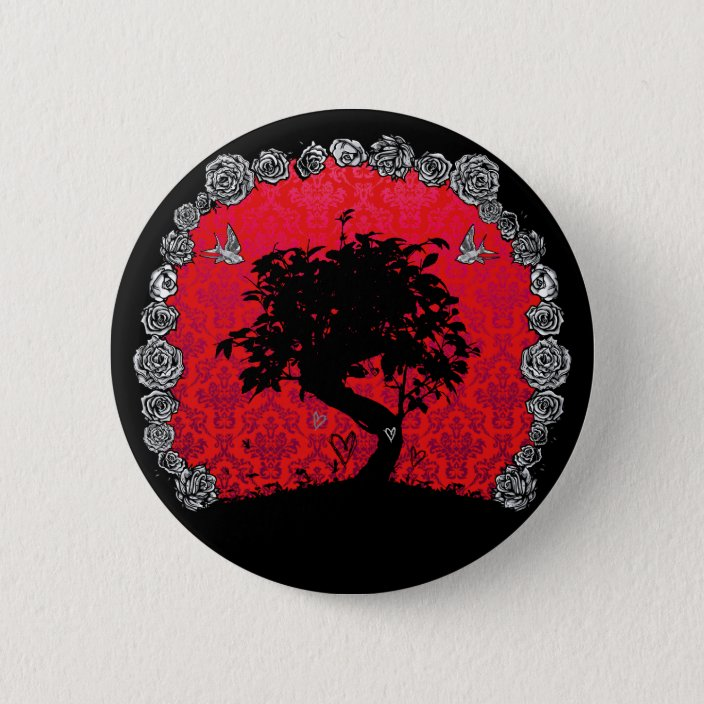 Tattoo Rose Bonsai Tree Of Love Swallow Pinback Button Zazzle Com