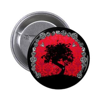 Tattoo Rose Bonsai Tree of Love Swallow Pinback Button