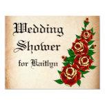 "Tattoo Rose Bridal Shower 4.25"" X 5.5"" Invitation Card"