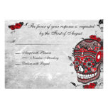 Tattoo Rose & Fluers Muerte Skull Reception Card