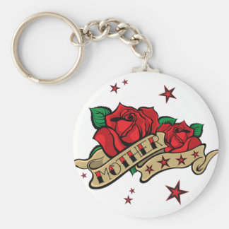 Tattoo Rose Mother Illustration. Basic Round Button Keychain