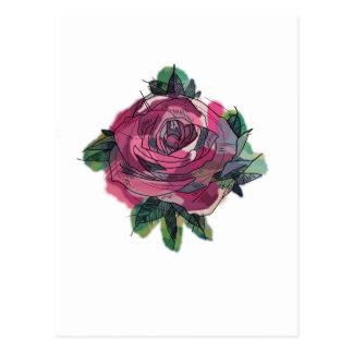 Tattoo rose postcard