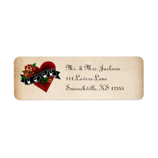 Tattoo Rose Return Address Labels