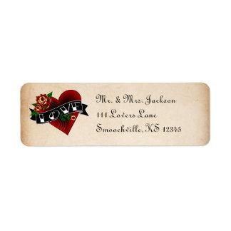 Tattoo Rose Return Address Labels