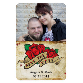 Tattoo Rose Save the date Photo Magnet
