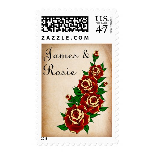 tattoo rose save the date postage stamp zazzle. Black Bedroom Furniture Sets. Home Design Ideas