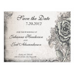 Tattoo Rose Save the Date Wedding Postcard