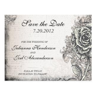 Tattoo Rose Save the Date Wedding Postcard