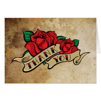 Tattoo Rose Thank You Greeting Card