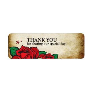 Tattoo Rose Thank You Wedding Label Return Address Label