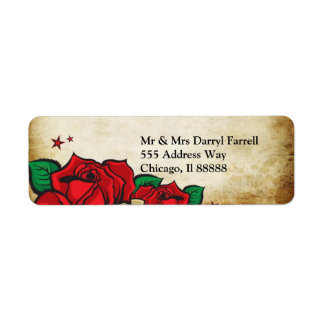 Tattoo Rose Wedding Address  Label