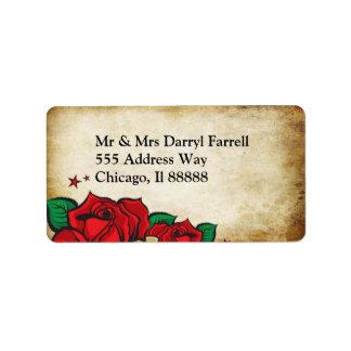 Tattoo Rose Wedding Label Address Label