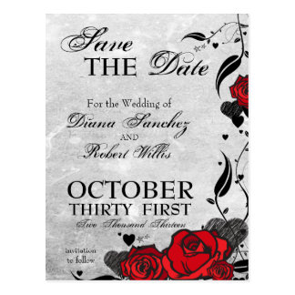 Tattoo Roses & Hearts Save the Date Postcard