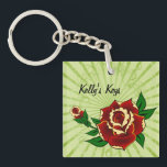 "Tattoo Roses Personalized Keychain<br><div class=""desc"">Tattoo rose flash art key chain is easy to personalize with your own name. Art by Audra Phillips,  all rights reserved.</div>"
