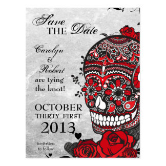 Tattoo Roses & Sugar Skull Save the Date Postcard