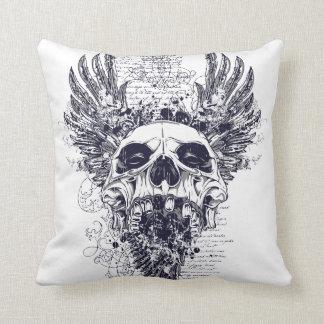 Tattoo Scrawl Skull Cushion Pillow