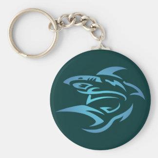 Tattoo shark shark basic round button keychain