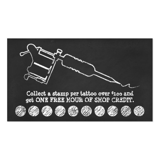 Tattoo shop chalk loyalty program 3dots business card for Tattoo business cards templates free