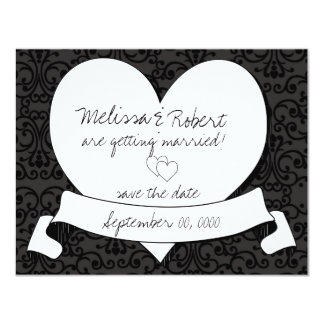 Tattoo Sketch Heart save the Date Card