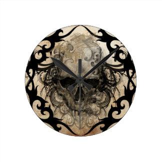 tattoo skull round wall clocks