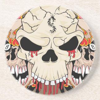 Tattoo Skull Eight Ball Flame Fire Dragon Coasters