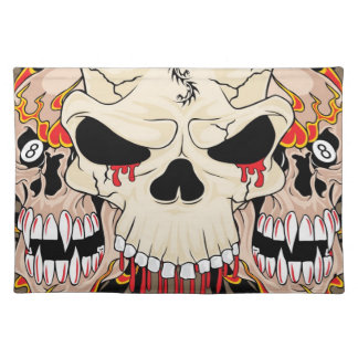 Tattoo Skull Eight Ball Flame Fire Dragon Placemat