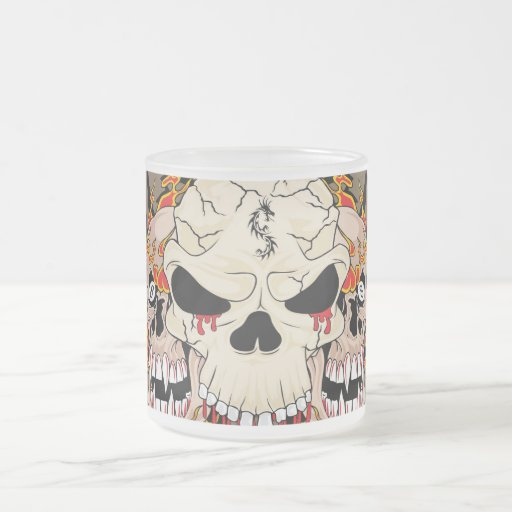 Tattoo Skull Eight Frosted Glass Coffee Mug Cup