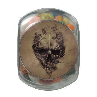 Tattoo Skull Over Vintage Paper Glass Jar
