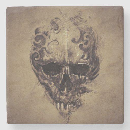 tattoo skull over vintage paper stone coaster zazzle. Black Bedroom Furniture Sets. Home Design Ideas