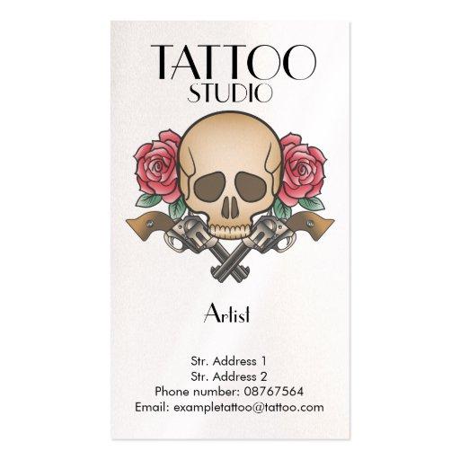 tattoo studio old school skull design card zazzle. Black Bedroom Furniture Sets. Home Design Ideas