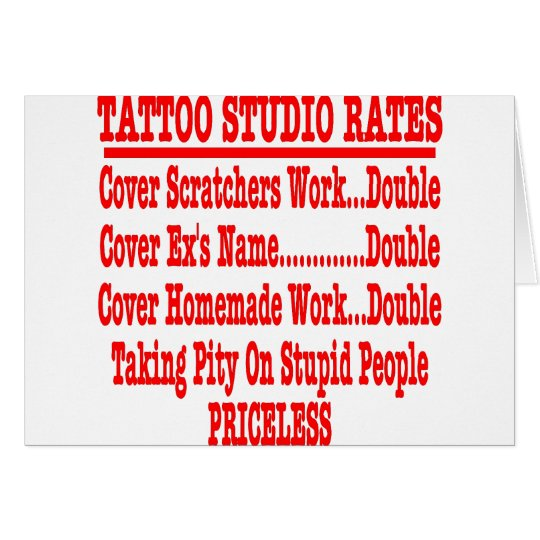 "Tattoo Studio Rates ""Priceless"" Card"