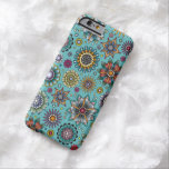 Tattoo Style Flower Doodle Pattern Blue Barely There iPhone 6 Case
